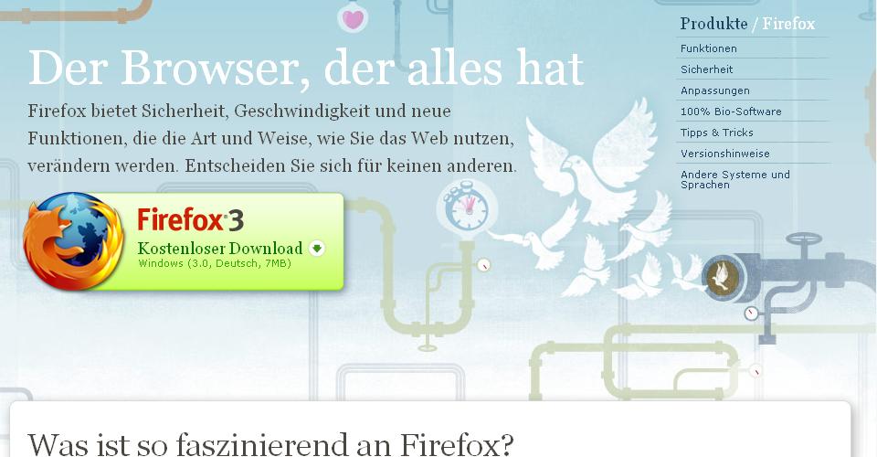 Dwonloadseite des Firefox 3