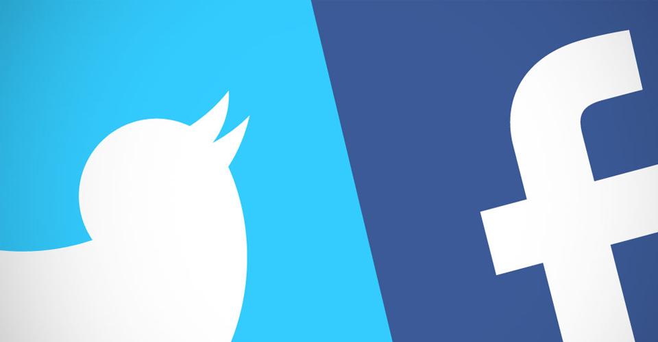 Logo von Twitter und Facebook