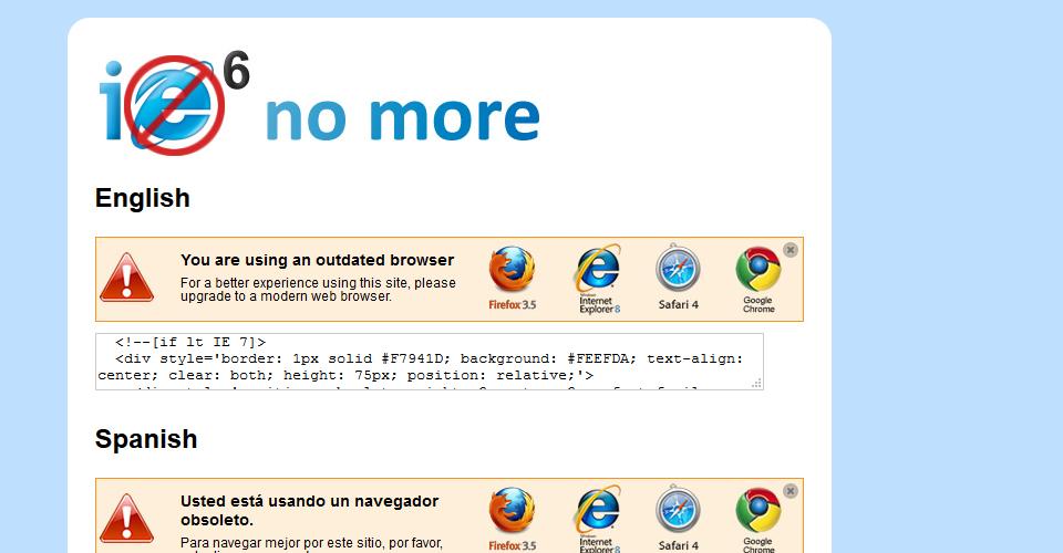Fehleranzeige, die Angezeigt wird, wenn Internet Explorer 6 zum Einsatz kommt