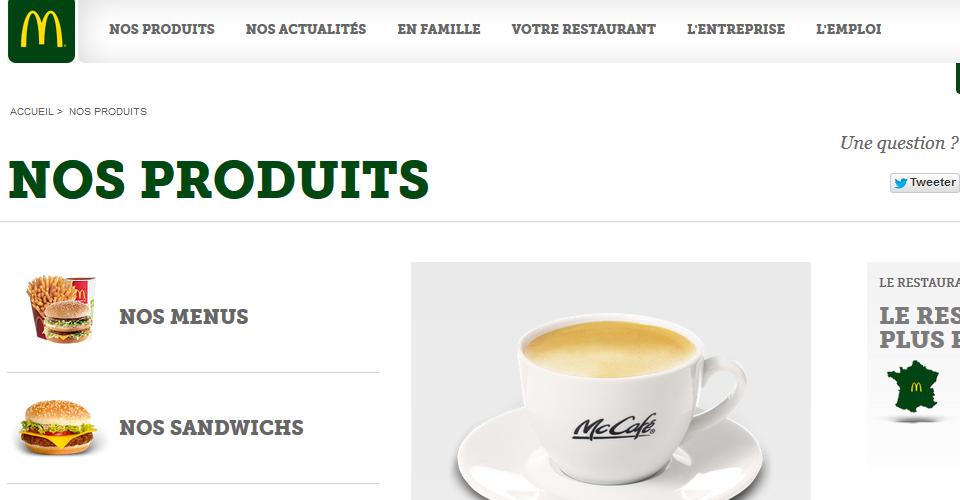 Menüleiste des französischen McDonald's in grün