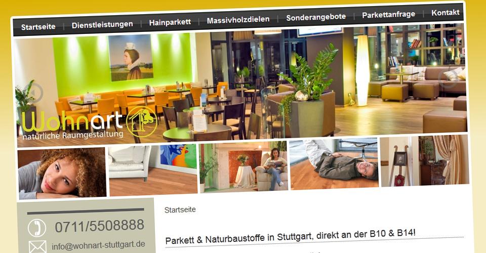 Kopfbereich der Webseite wohnart-stuttgart.de