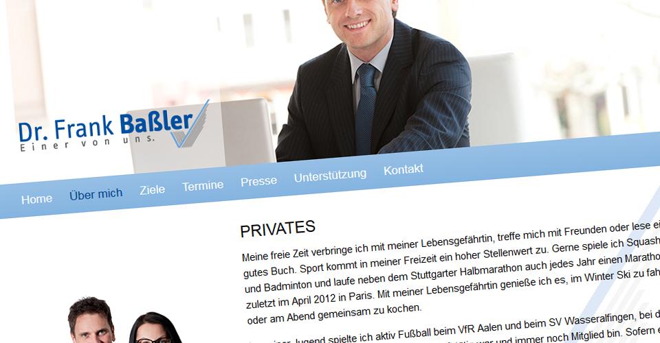 Webseite von Frank Baßler für die OB-Wahl Aalen