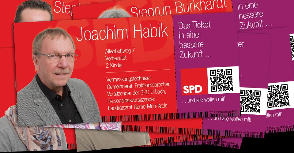 Tickets der Kandidaten der SPD Urbach